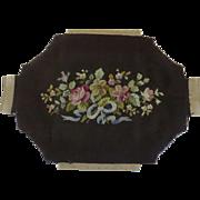 Vintage Needlework Wool  Seat  Canvas Floral