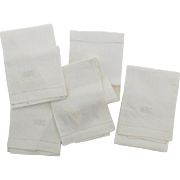 4 x Vintage Un-used Tea Hand Towels Embroidered Monogram Off White