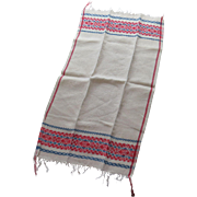 Vintage Country Kitchen Red Blue Linen Towel Fringe