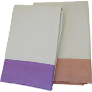 "Two Vintage Linen Flat Sheets Bright Border Colors Peach Lavender Measure 78"" by 88"""