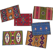 6 x  1910's Cigar Felts Flannels Native American Rugs