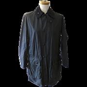 Vintage Barbour Waxed Coat Jacket Dark Navy Corduroy Collar Hunting Shooting