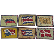 Group of Six (6) Vintage Cigar Felts Flannels 1910's Flags