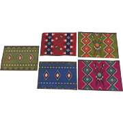 Group of Five (5) Vintage Cigar Felts Flannels Native American Rugs 1910's