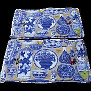 Manuel Canovas CHINOISERIE Jardin Bleu Toile Fabric  King Pillow Shams and King Bed Skirt