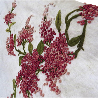 Vintage Linen Towel Shawl French Knots Large Crochet Lace