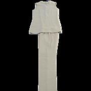 Vintage 1970's Tunic Two Piece Pant Suit Knit