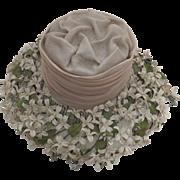 Vintage 1950's Wide Brim Hat Chiffon Flowers Label: Marche' Exclusive