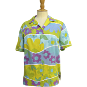 Vintage 1960's Hawaiian Shirt Mod Flowers