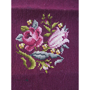 Vintage Needlepoint Piece on Canvas Floral Burgundy Craft