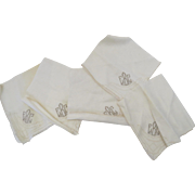 "Vintage Linen 15"" Square Embroidered Napkins Study Crafts"