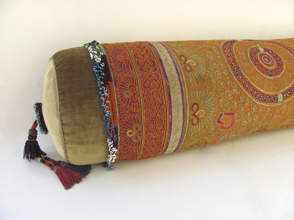 Throw Pillows Vintage Fabric : Vintage Tribal Fabric Beads Bolster Pillow by Ann Lawrence : Black Tulip Antiques, Ltd. Ruby Lane