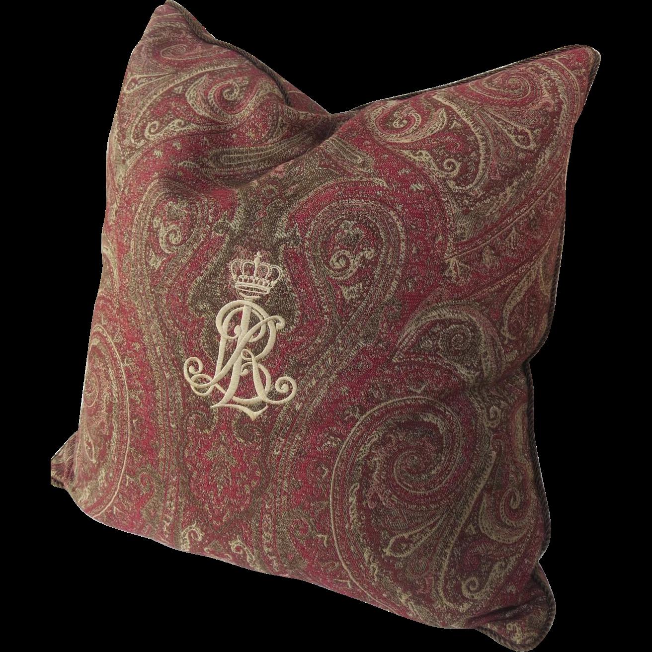 Vintage Ralph Lauren Paisley Throw Cushion Pillow Down Insert Embroidered Logo