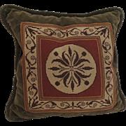 Vintage Needlepoint Pillow Cushion Velvet Back