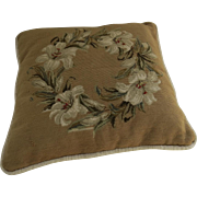 Square Vintage Pillow Cushion Needlepoint Lily Flower Wreath