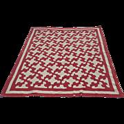 Vintage Hand Stitched Quilt Red & White Drunkard's Path Pattern