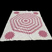 Vintage Hand Stitched Quilt Pink Red & White Sunburst Star Pattern