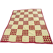 Vintage Red Light Yellow Triangle Pattern Quilt
