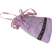 Shoshanna Cotton Pink White Gingham Drawstring Fabric Bag