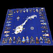 Vintage Scandinavian Cotton Square Table Cloth Folk Art Tradition Dress