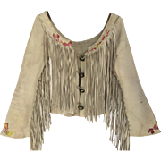 Vintage Fringed Leather Hippie Woodstock Women's Jacket Silver Dollar Cupped Buttons Prop