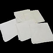 Set of 5 Vintage Linen Pull Work Napkins Fabric Restoration