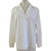 Vintage Sea Island Lady Hathaway Woman's Blouse Long Sleeve White, 1960's