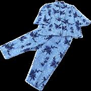 Vintage Hawaii Hawaiian Chinese Style Pajamas Cotton Mandarin Collar
