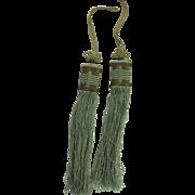 Vintage Silk Chinese Tassel Copper Wire c 1900 Sewing Basket Pair