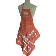Vintage Peach Lace Kitchen Apron