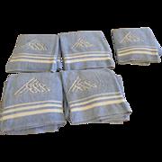 L.L. LITWINSKY Chicago Terry Towels Deco Monogram Blue Set of 5