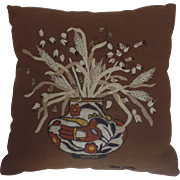 Vintage 1970's Embroidered Crewel Needlework Throw Pillow Cushion with Native American Pot