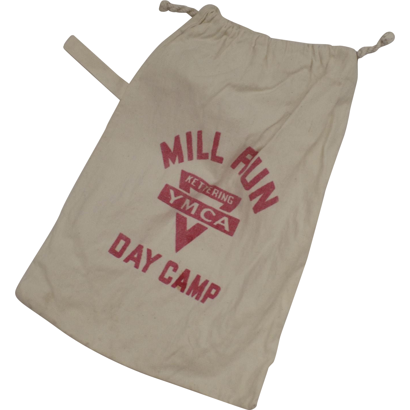 Vintage Flour Sack Canvas Day Camp YMCA Kettering Bag From