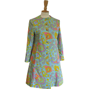 Vintage 1960's Mam'Selle Betty Carol Mod Pastel Paisley Spring Coat