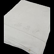 Vintage Large Linen Damask Tea Towel Embroidered