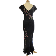 1990's Ultra High End Betsey Johnson Bias Cut Long Gown Applied Flowers