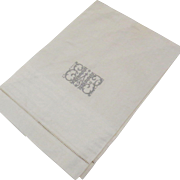 Vintge Linen Fabulous Embroidery Monogram Tea Towel Hand