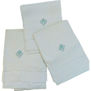 Three Vintage Linen Hand Tea Kitchen Towel Great Embroidery Monogram Mint Green