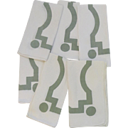 """Vintage Set of (6) Six Napkins 1940's Great Graphic Pattern 16"""" Square"""
