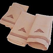 Three Vintage Linen Hand Tea Kitchen Towel Great Embroidery Monogram Peach