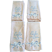 4 x Vintage 1930's Embroidered Pink Terry Hand Towels Bow Motif