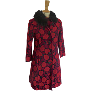 Vintage 1950's 1960's Coat and Dress Fur Collar Brocade Beaded Buttoms