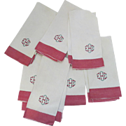 7 x Vintage Linen Hand Tea Kitchen Towels Red White