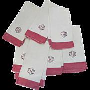 7 x Vintage Linen Hand Tea Kitchen Towels Red White