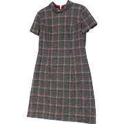"""Vintage Wood Plaid Shift Dress Short Sleeve """"The Sporting Tailors"""""""