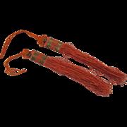 Vintage Silk Chinese Tassel Copper Wire c 1900 Sewing Basket