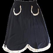 1950's Vintage Western Leather Fringe Trim Skirt
