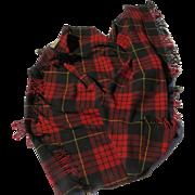 Vintage 100% Wool Royal Scot English Great Britain Throw Blanket Lap Fringe Tartan Plaid