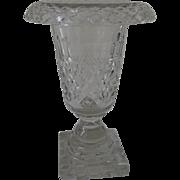 Anglo Irish 19th Century Cut Glass Fold Over Lip Vase Sweetmeat Jar