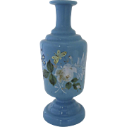 English Robin's Egg Blue Bristol Glass Enamel Painted Vase 19th Century Butterfly Flowers (G.904)
